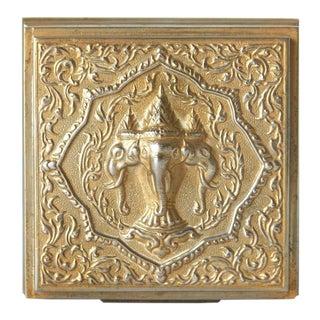 Square Gold Tone Metal Vintage Powder Box For Sale