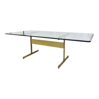 Polished Metal T Bar Dining Table For Sale