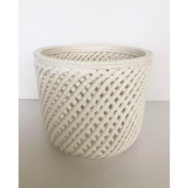Boho Chic Vintage White Ceramic Lattice Flower Pot For Sale - Image 3 of 11