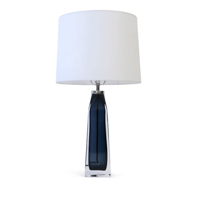Orrefors Blue Crystal Lamp For Sale - Image 9 of 9