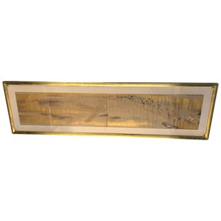 Exceptional 19th Century Gold Leaf and Hand Painted Scroll in Gilt Frame For Sale