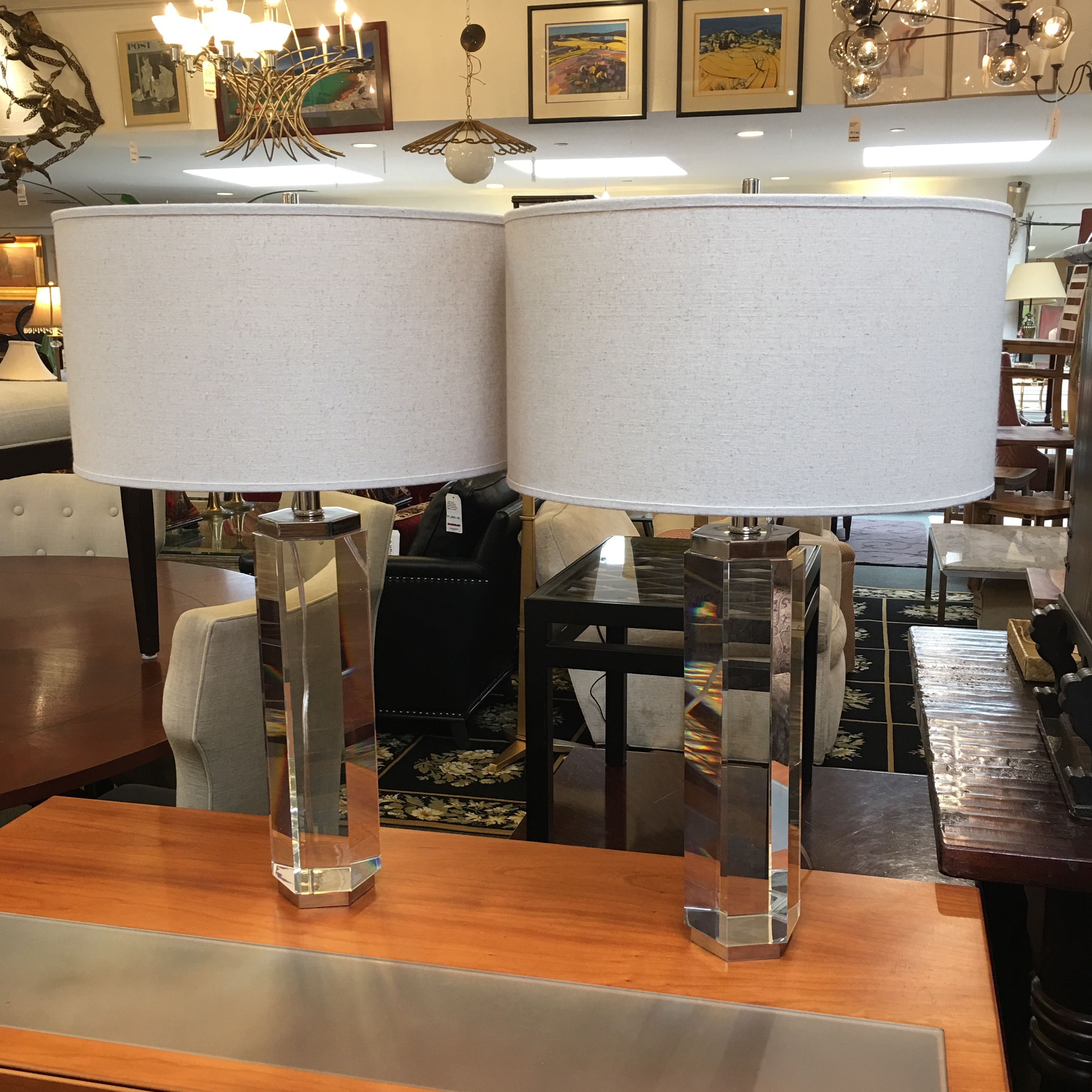 Restoration Hardware Hexagonal Column Crystal Table Lamps  A Pair   Image 2  Of 9