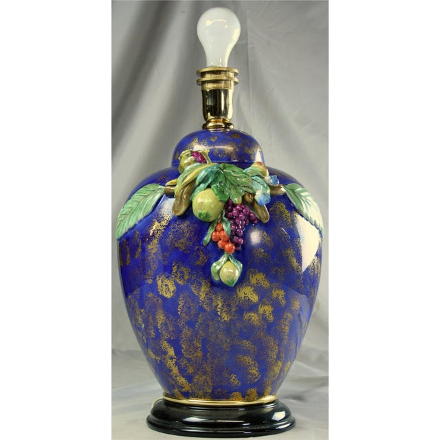 Mediterranean Italian Majolica Table Lamp Hand-Painted Blue For Sale - Image 3 of 8