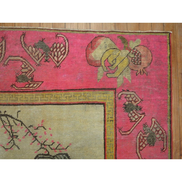 Bright Pink Boho Chic 19th Century Khotan Rug, 4'6'' x 6'10'' For Sale - Image 4 of 9