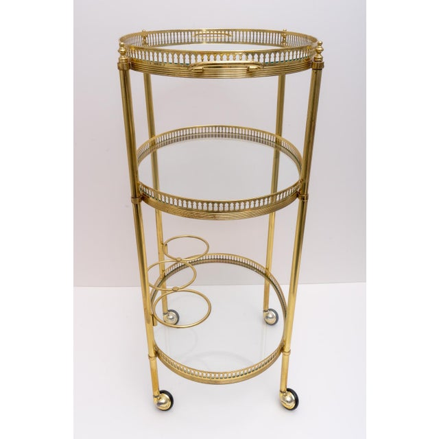 Hollywood Regency Oval Brass Bar Cart, 1970s Florence Italy For Sale In West Palm - Image 6 of 13