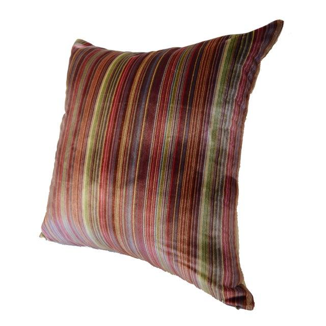 Art Deco Scalamandré 100% Silk Velvet Rainbow Stripe Pillow For Sale - Image 3 of 10