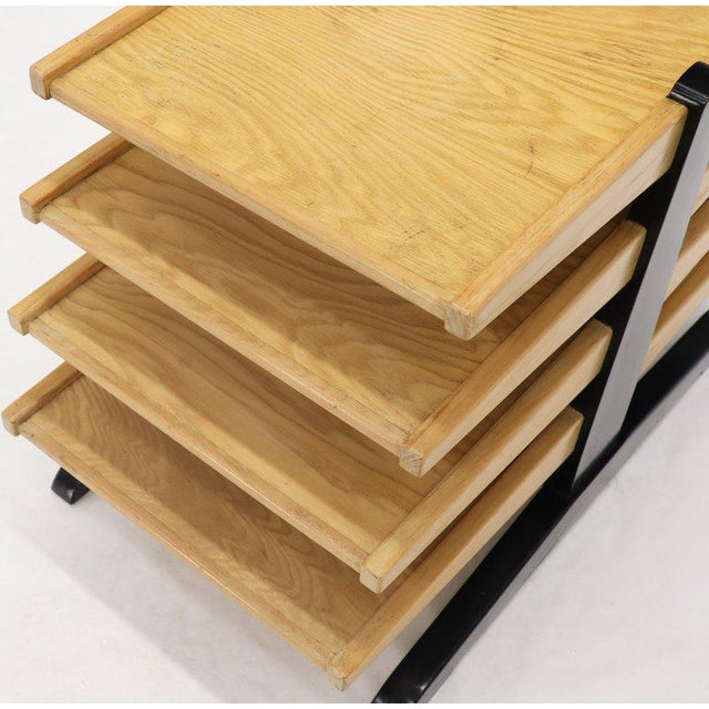 Black Mid-Century Modern Oak 4-Tier Magazine Rack Stand Shelf Storage For Sale - Image 8 of 10