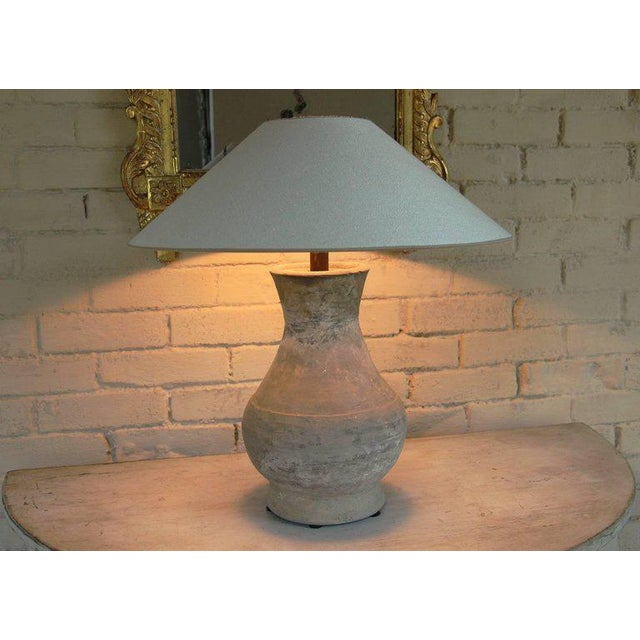 Asian Chinese Han Dynasty Period Unglazed Vase as Table Lamp For Sale - Image 3 of 10