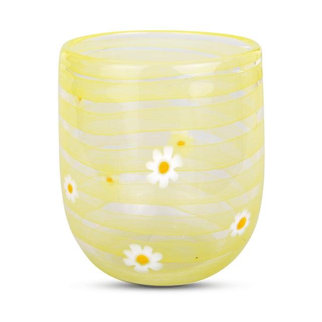 Contemporary LagunaB Yellow Daisy Handmade Murano Glass Tumbler For Sale - Image 3 of 3