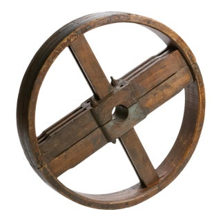 Antique French Industrial Wooden Wheel For Sale