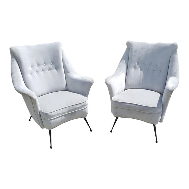 Gio Ponti Style Italian Lounge Chairs - a Pair For Sale