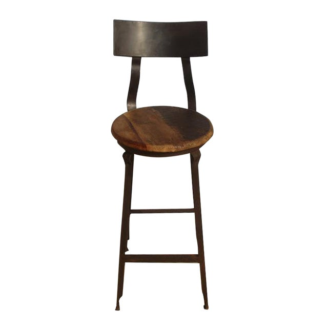 Reclaimed Wood & Iron Barstool - Image 1 of 2