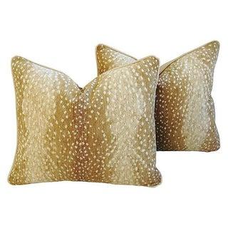 Designer Antelope Fawn Spot Velvet Pillows - Pair For Sale