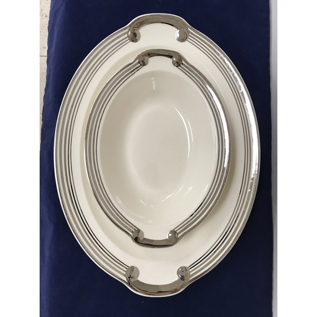 "American Classical Taylor, Smith & Taylor ""Platinum Bands"" Serving Dishes - Set of 2 For Sale - Image 3 of 8"