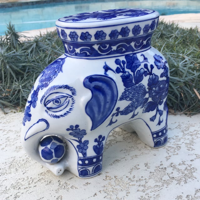 Blue & White Chinoiserie Ceramic Elephant Stand - Image 8 of 8