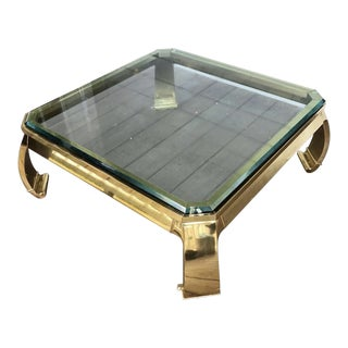 1980s Ming Mastercraft Solid Brass Coffee Table For Sale