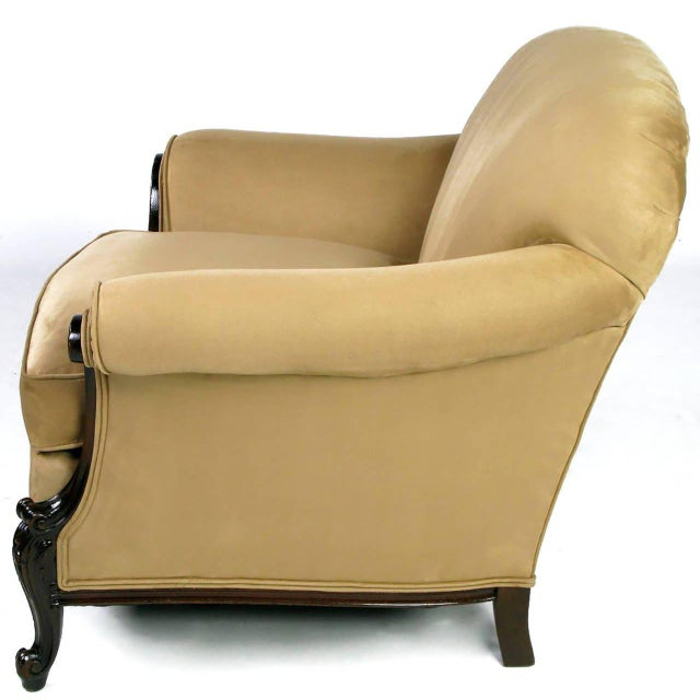Hollywood Regency Early 20th Century Rolled-Arm Club Chair in Ultra Suede For Sale - Image 3 of 7