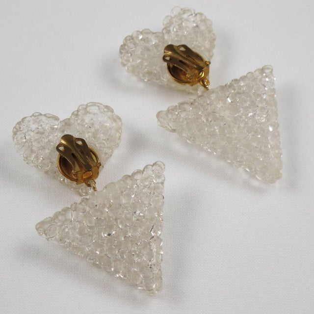 Romantic Dangling Clear Lucite Clip on Earrings With Heart For Sale In Atlanta - Image 6 of 9