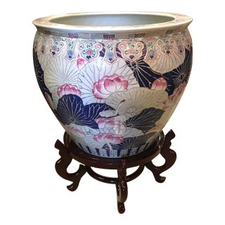 Vintage Large, Chinese. Koi Fish Bowl Planter & Wooden Stand Set For Sale