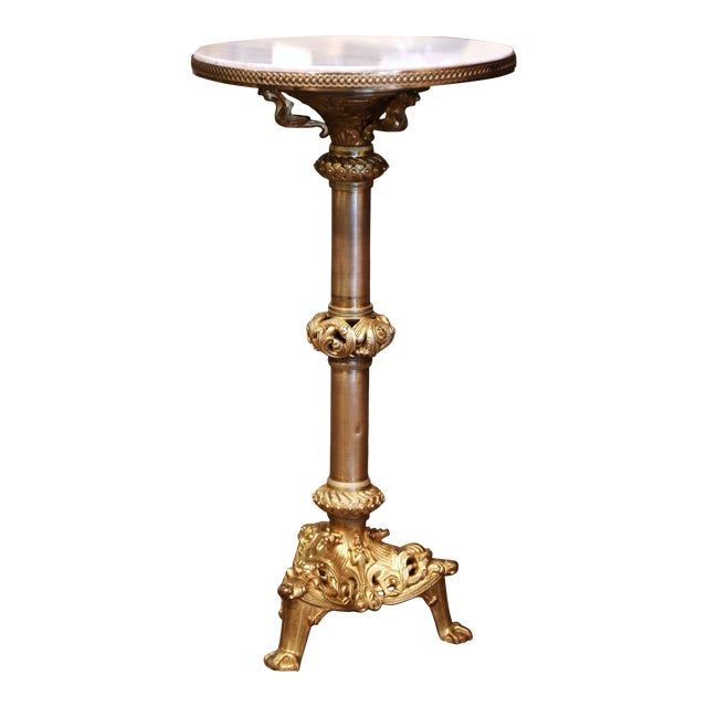 19th Century French Empire Bronze Doré and Marble Side Pedestal Table For Sale
