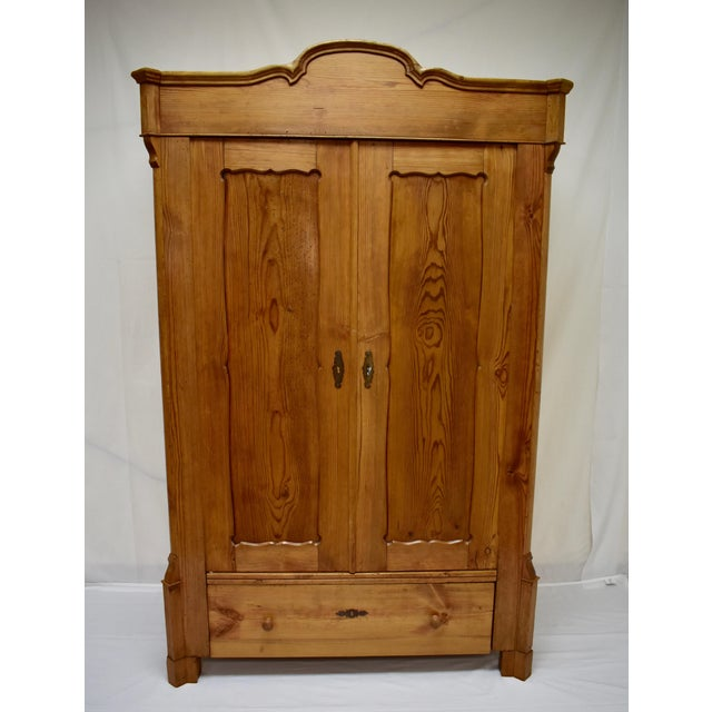 Pitch Pine Bonnet Top Two Door Armoire For Sale - Image 13 of 13
