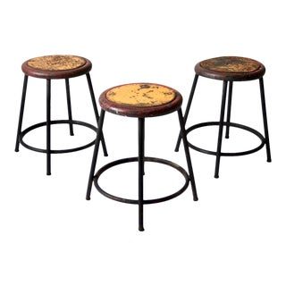 Vintage Industrial Stools - Set of 3 For Sale