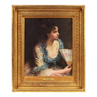 'At the Opera, New York' by John Reed Dickinson, 1876; Beaux Arts Portrait of a Young Woman, Royal Academy For Sale