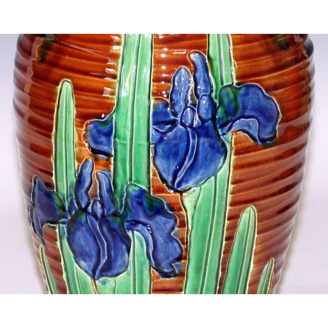 Green Awaji Pottery Art Nouveau Carved Iris Vase For Sale - Image 8 of 11