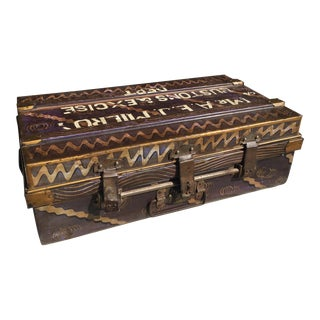 Antique Folk Painted Metal Suitcase Circa 1920 For Sale