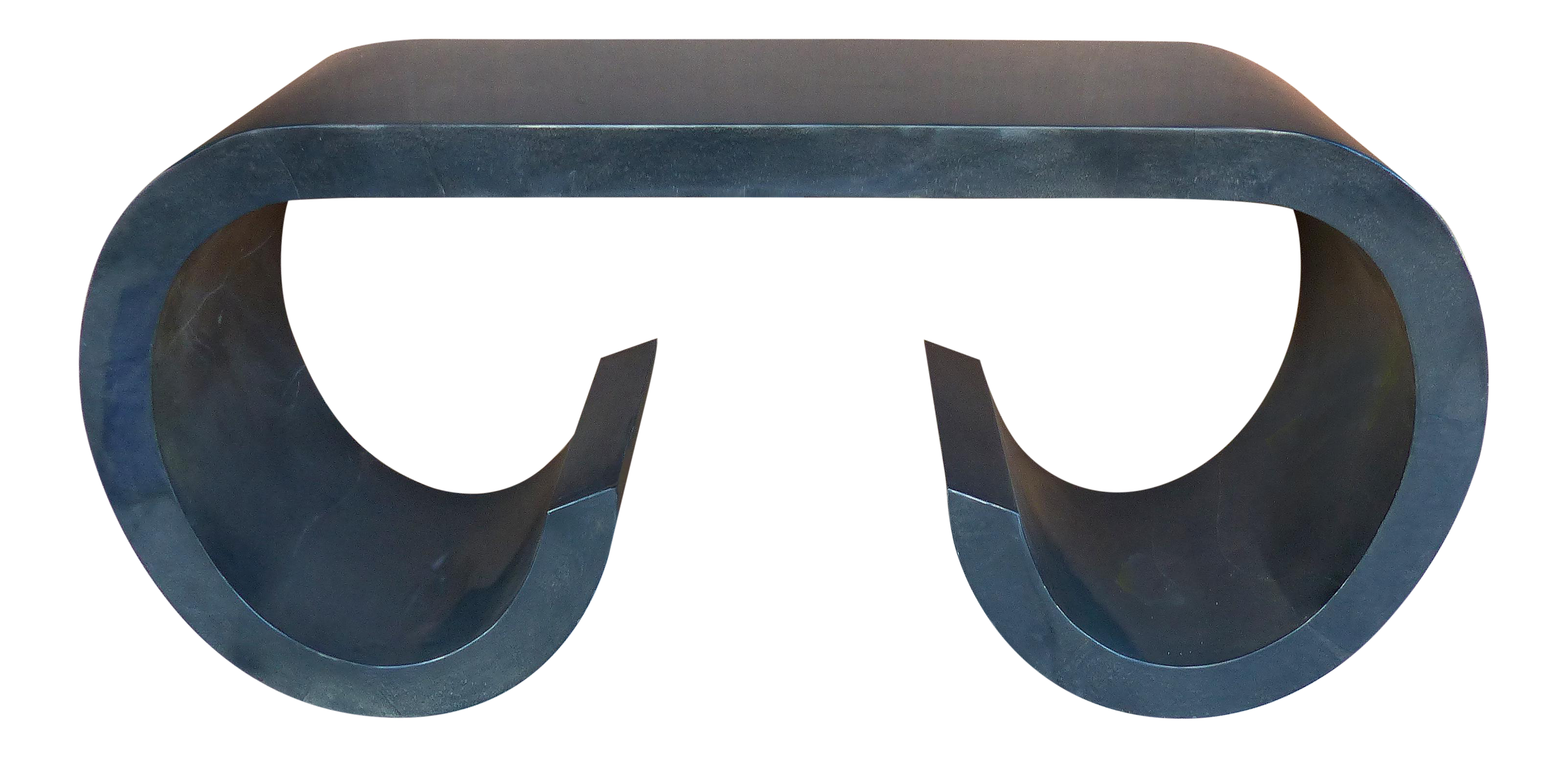 Mid Century Lacquered Goatskin Console Table In The Style Of Karl Springer    Image 1 Of