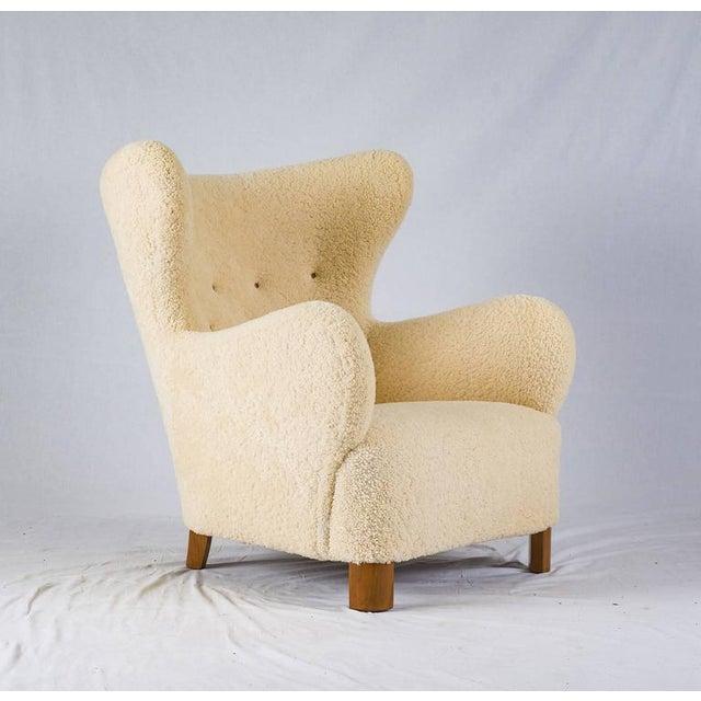 Scandinavian Sheepskin Lounge Chair - Image 2 of 10