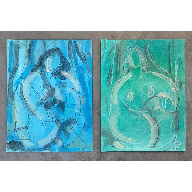 Heidi Lanino Figurative Drawing 'Blue Dream' Seated Nude For Sale - Image 4 of 4
