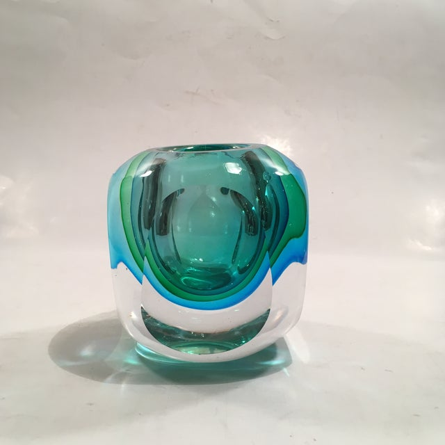 Crystal Cased Green & Blue Glass Candle Holder - Image 3 of 8