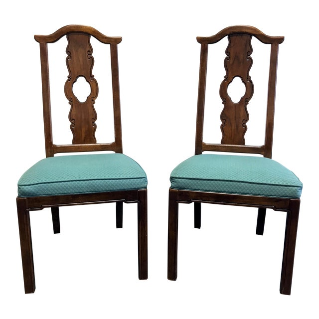 THOMASVILLE Mystique Asian Chinoiserie Dining Side Chairs - Pair 1 For Sale