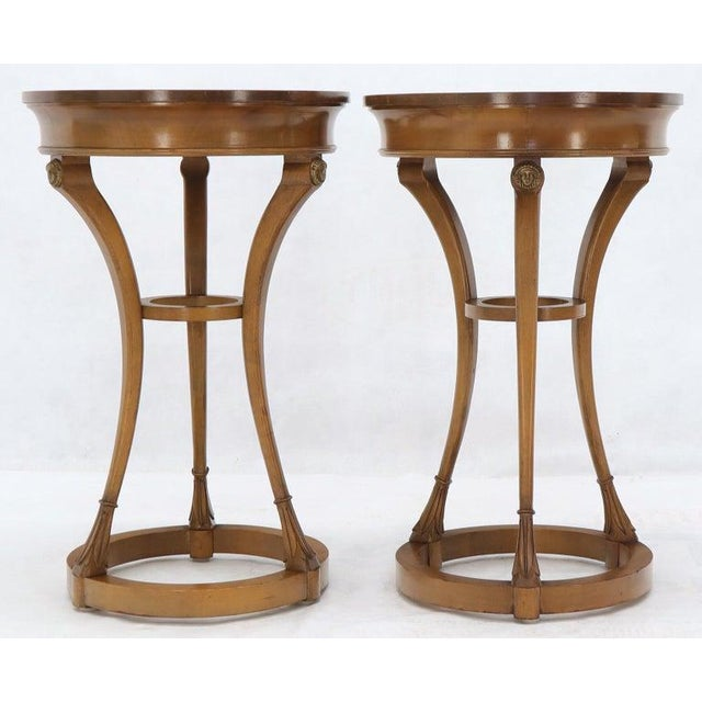 Neoclassical Pair of Tall Round Pedestal Shape Side End Tables on Tri Legged Bases Burl Wood For Sale - Image 3 of 13