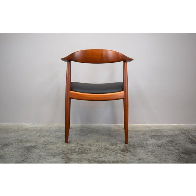 Early Hans Wegner for Johannes Hansen Jh-503 'The Chair' in Teak & Leather For Sale In Portland, ME - Image 6 of 13