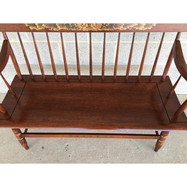 Description: L. Hitchcock Riverton Harvest Solid Maple Deacons Bench, In Excellent Vintage Furniture Condition, Less than...