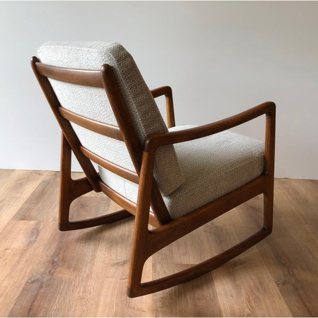 White Newly-Upholstered MCM Rocker - Ole Wanscher for France & Daverkosen For Sale - Image 8 of 13