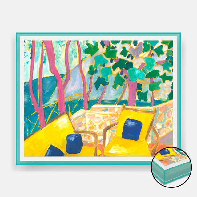 Contemporary Porto Ercole 3 by Lulu DK in Turquoise Acrylic Shadowbox, Small Art Print For Sale - Image 3 of 3