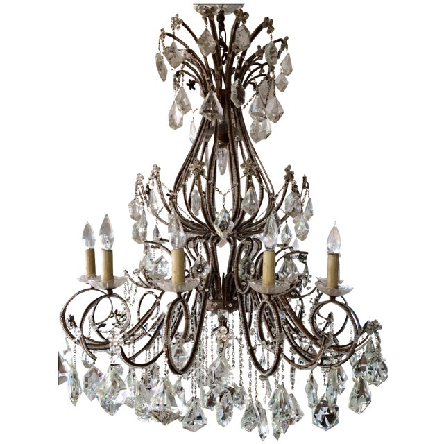 Crystal & Brass French Chandelier - Image 1 of 3