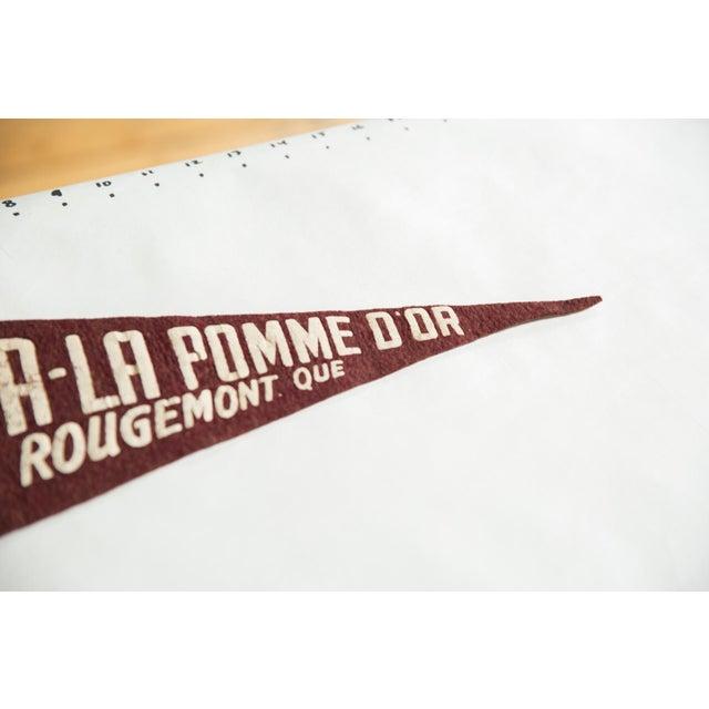 :: A-La Pomme D'Or Rougemont Que -- translation: The Golden Apple, Rougemont Quebec. Vintage circa 1930's felt flag...