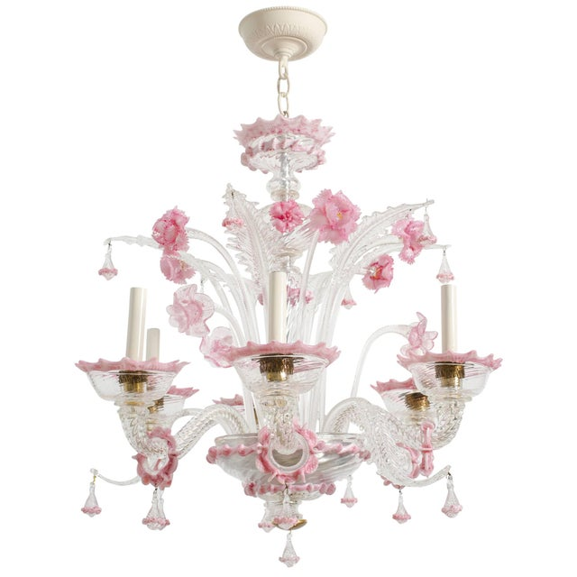1950s Venetian Pink Six-Arm Chandelier For Sale - Image 10 of 10