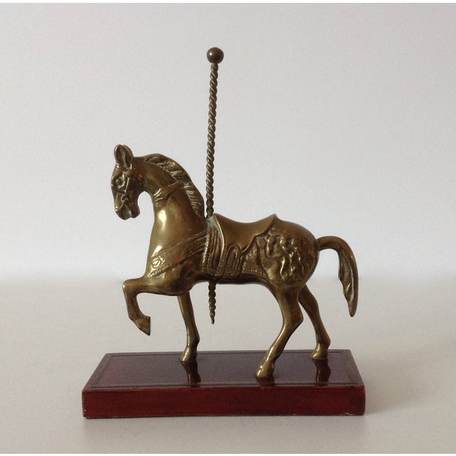 Hollywood Regency Brass Carousel Horse Accent Bookend For Sale - Image 3 of 9