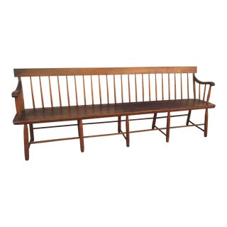 "Antique American Bench ""Shaker Meeting Bench"" 19th Century Windsor For Sale"