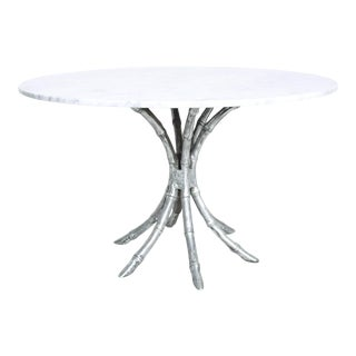Hollywood Regency Faux Bamboo in Aluminum Pedestal Table With Marble Top For Sale