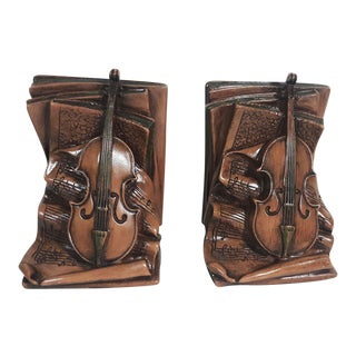 Vintage Violin and Sheet Music Bookends - a Pair