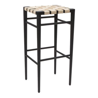 Smilow furniture ebonized walnut bar stool with leather webbed seat For Sale