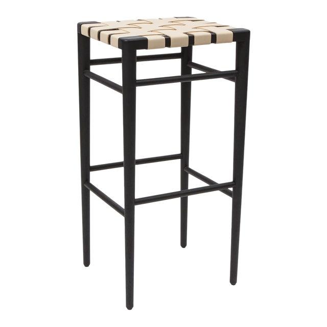 Smilow furniture ebonized walnut bar stool with leather webbed seat For Sale