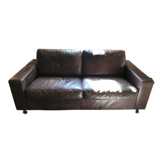 Mid-Century Modern Iconic Minotti Leather Settee For Sale