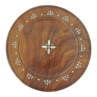 Indian Round Bone Inlay Round Tray For Sale